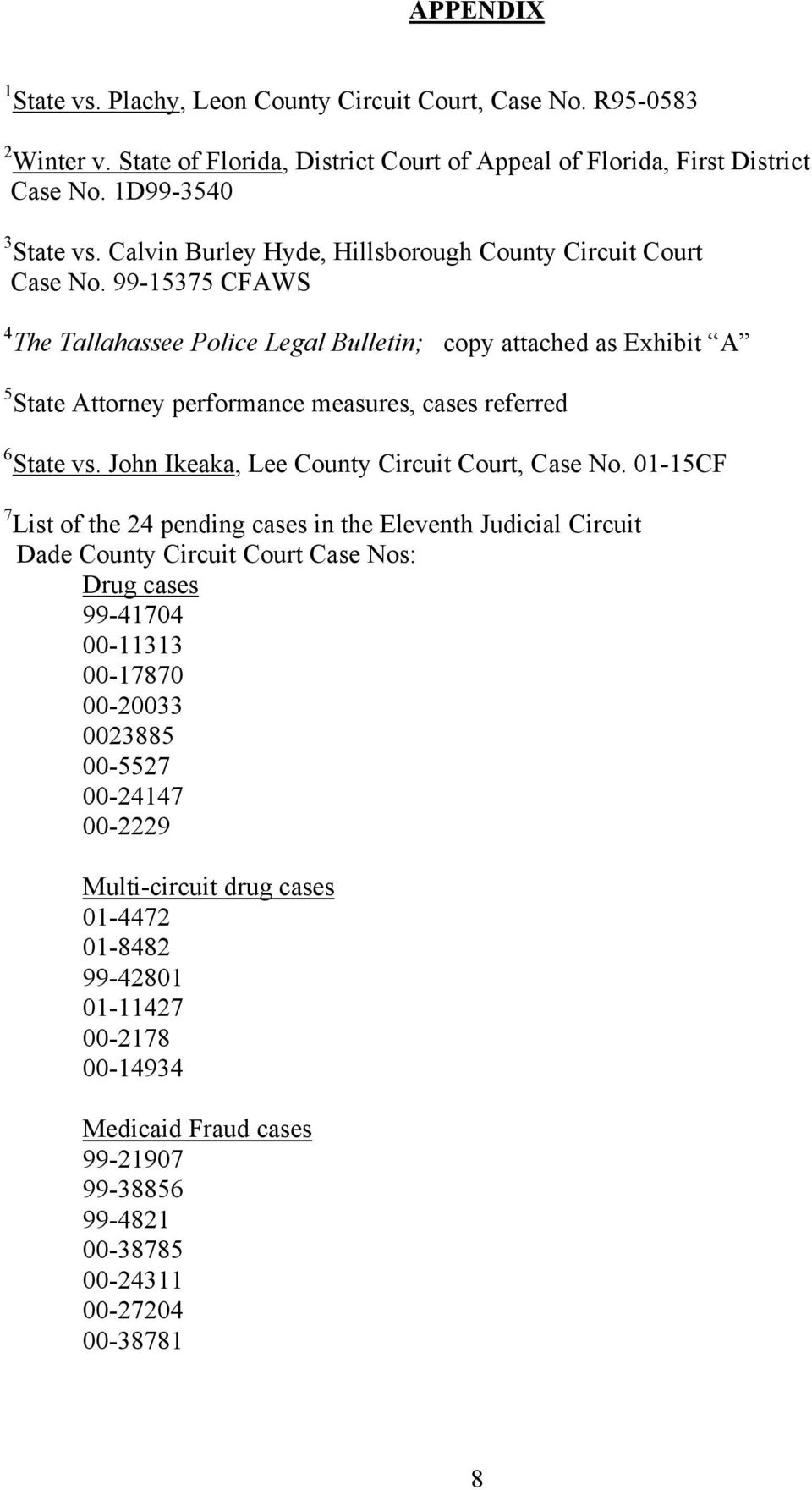 99-15375 CFAWS 4 The Tallahassee Police Legal Bulletin; copy attached as Exhibit A 5 State Attorney performance measures, cases referred 6 State vs. John Ikeaka, Lee County Circuit Court, Case No.