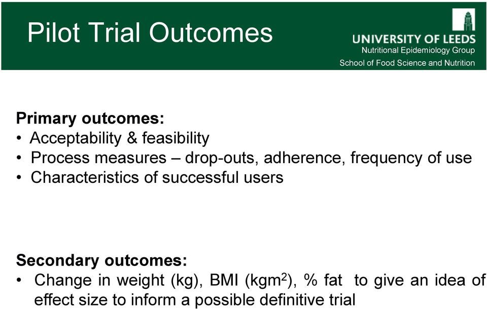 of successful users Secondary outcomes: Change in weight (kg), BMI (kgm