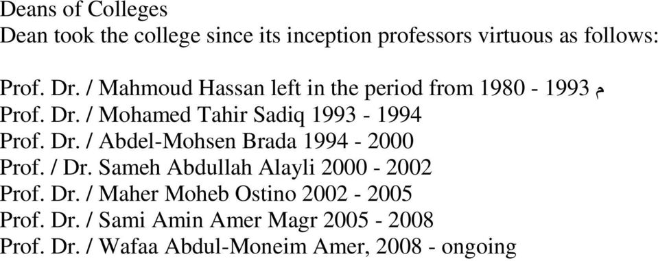 / Dr. Sameh Abdullah Alayli 2000-2002 Prof. Dr. / Maher Moheb Ostino 2002-2005 Prof. Dr. / Sami Amin Amer Magr 2005-2008 Prof.