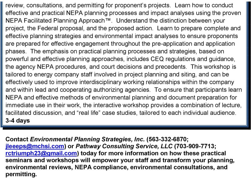 Understand the distinction between your project, the Federal proposal, and the proposed action.