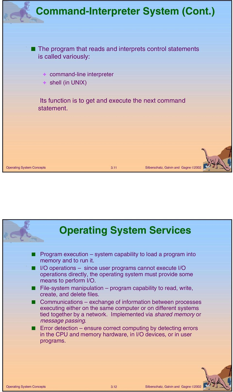 11 Operating System Services Program execution system capability to load a program into memory and to run it.