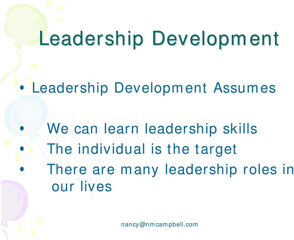 leadership skills The individual is the