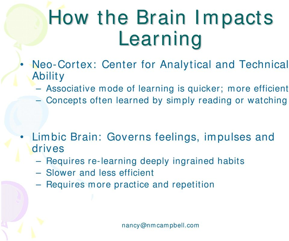 reading or watching Limbic Brain: Governs feelings, impulses and drives Requires