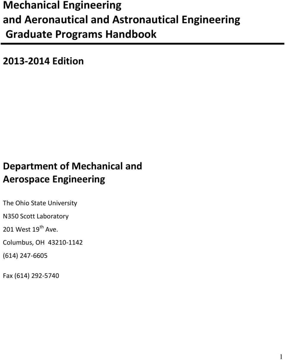 Aerospace Engineering The Ohio State University N350 Scott Laboratory 201