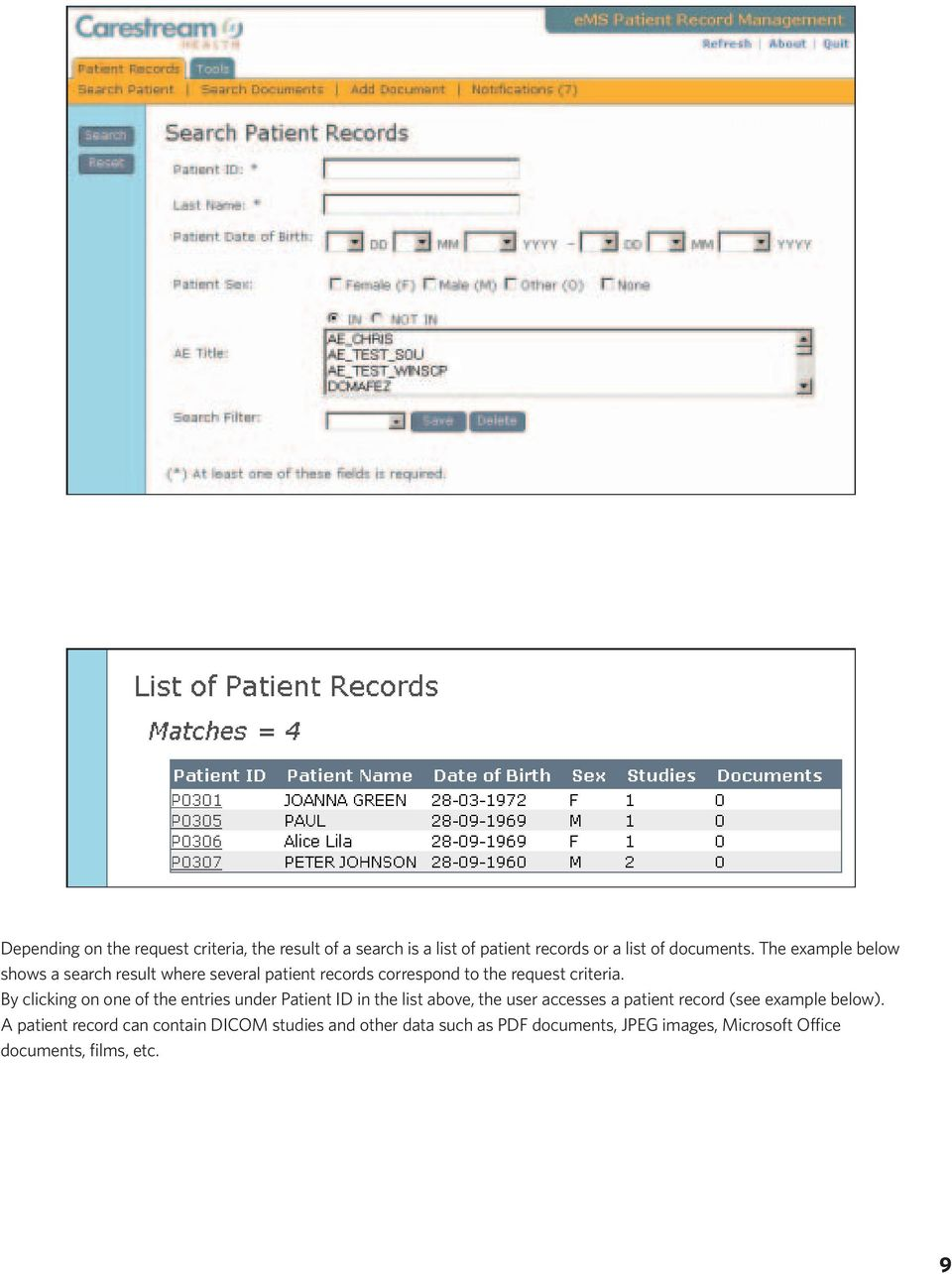 By clicking on one of the entries under Patient ID in the list above, the user accesses a patient record (see example