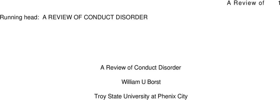 Review of Conduct Disorder William