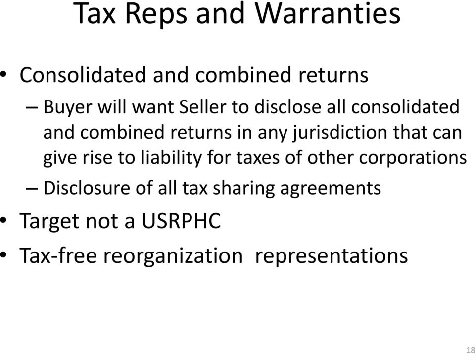 that can give rise to liability for taxes of other corporations Disclosure of