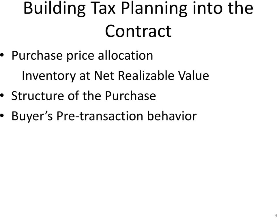 Net Realizable Value Structure of the