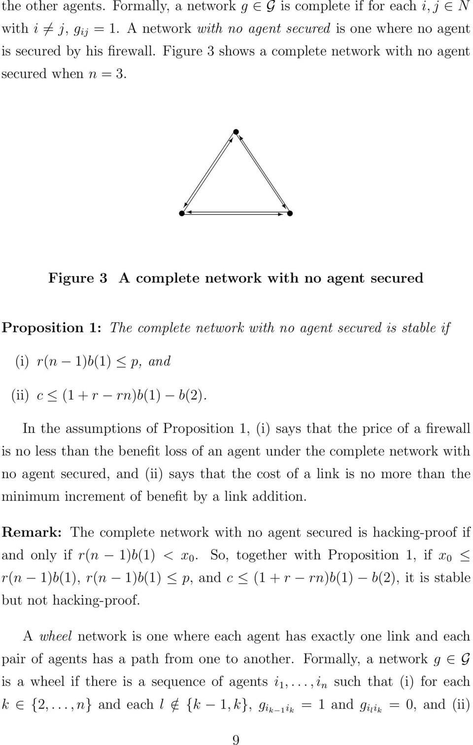 Figure 3 A complete network with no agent secured Proposition 1: The complete network with no agent secured is stable if (i) r(n 1)b(1) p, and (ii) c (1 + r rn)b(1) b(2).