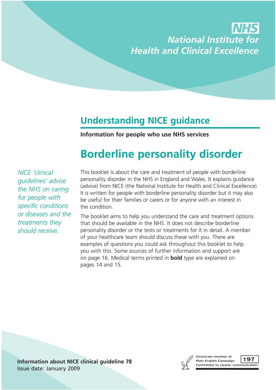 It explains guidance (advice) from NICE (the National Institute for Health and Clinical Excellence).