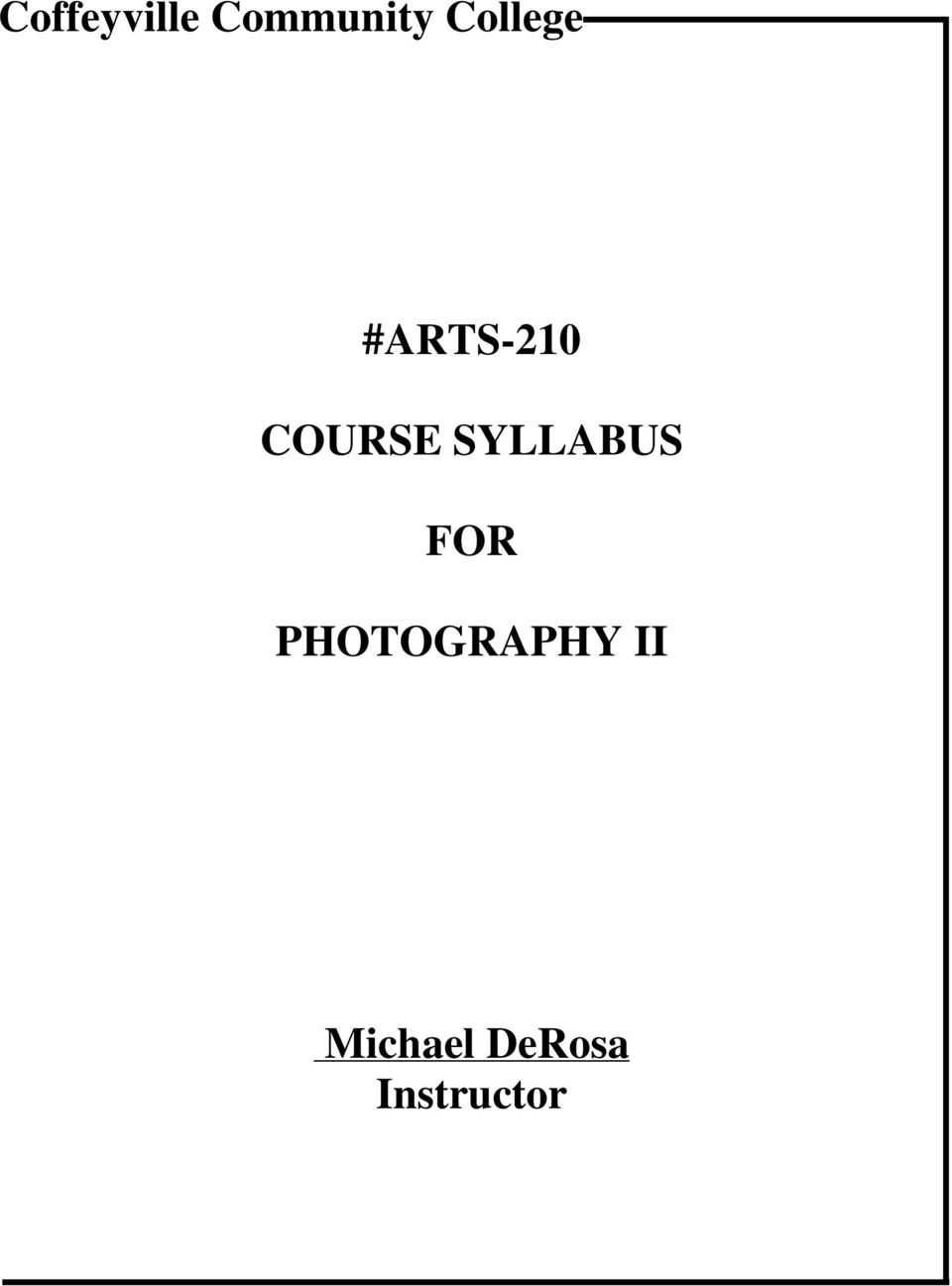 COURSE SYLLABUS FOR