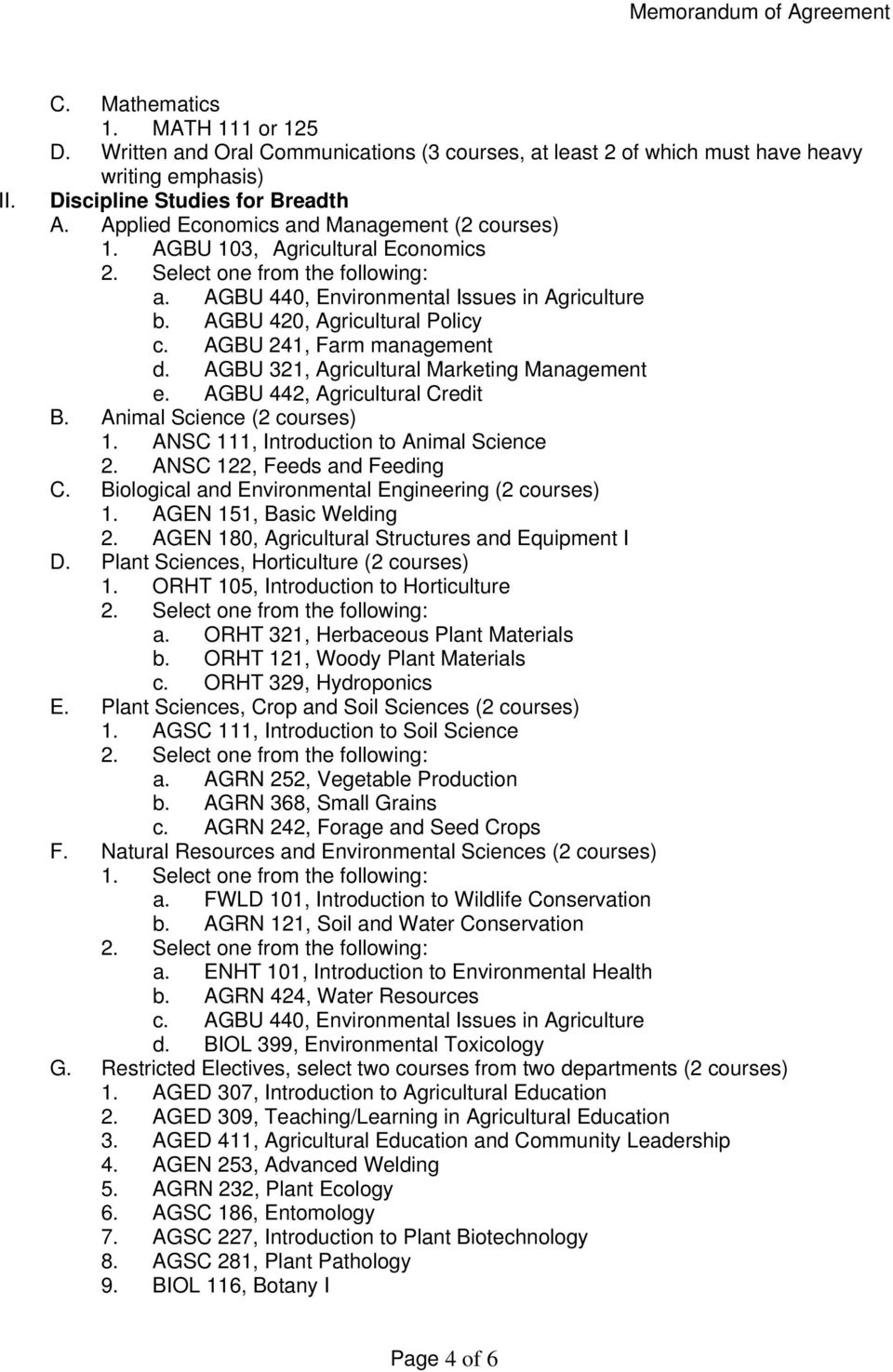 AGBU 321, Agricultural Marketing Management e. AGBU 442, Agricultural Credit B. Animal Science (2 courses) 1. ANSC 111, Introduction to Animal Science 2. ANSC 122, Feeds and Feeding C.