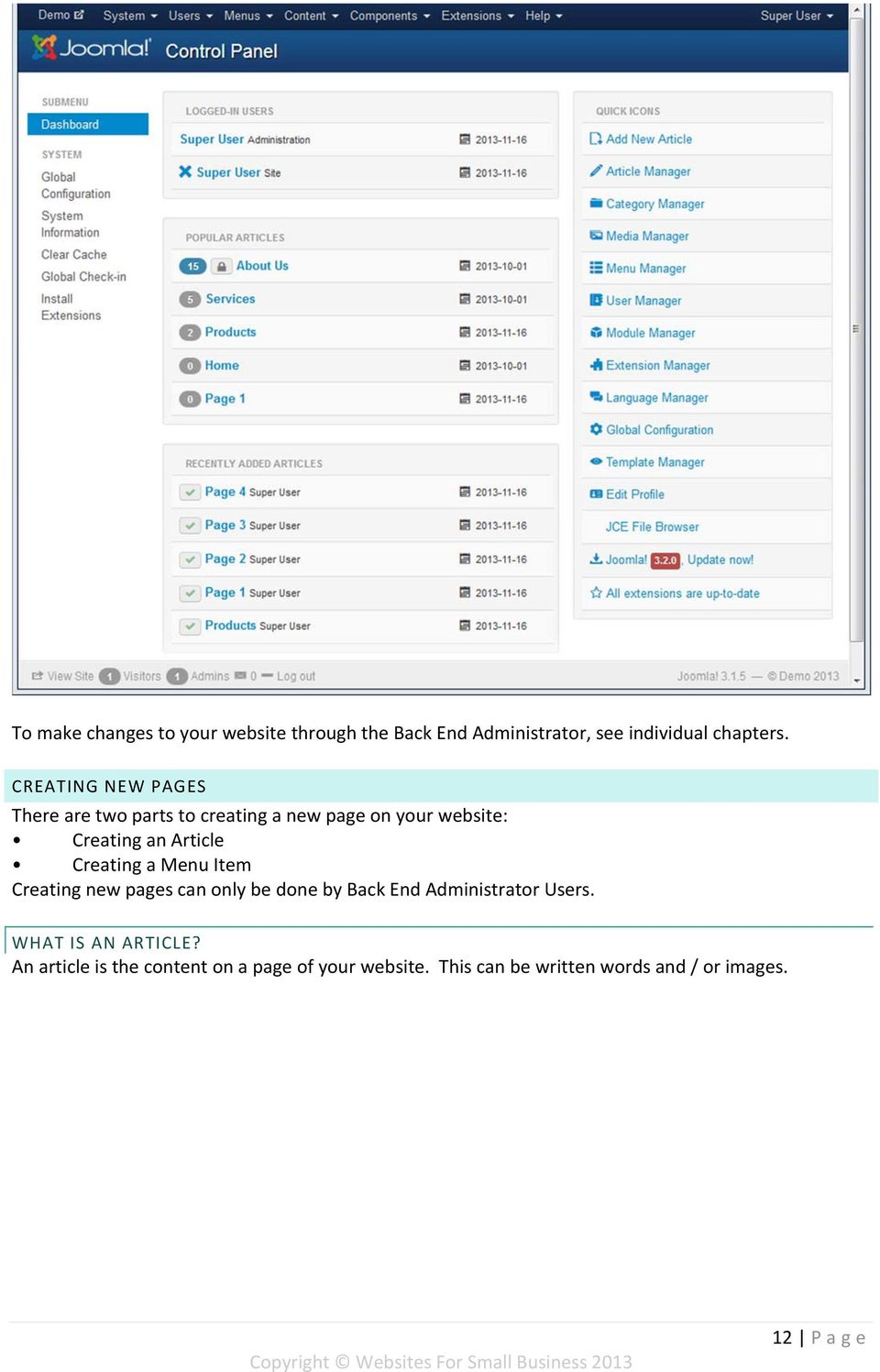 Creating a Menu Item Creating new pages can only be done by Back End Administrator Users.