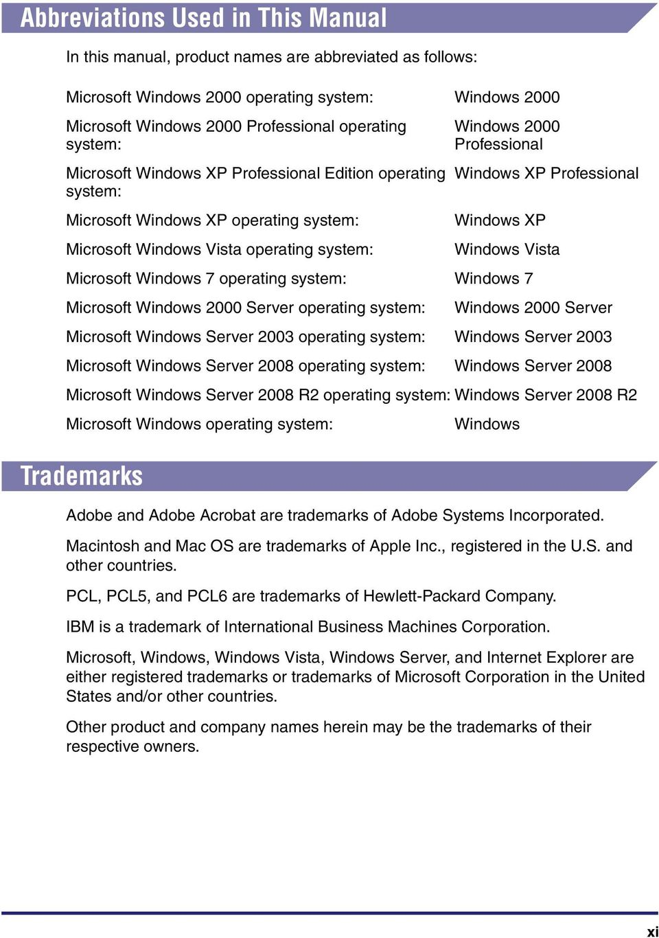 Professional Windows XP Windows Vista Microsoft Windows 7 operating system: Windows 7 Microsoft Windows 2000 Server operating system: Windows 2000 Server Microsoft Windows Server 2003 operating
