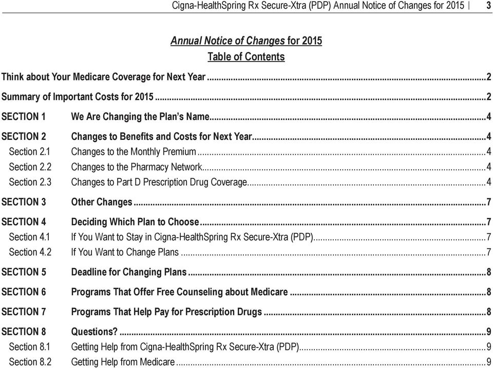 ..4 Section 2.2 Changes to the Pharmacy Network...4 Section 2.3 Changes to Part D Prescription Drug Coverage...4 SECTION 3 Other Changes...7 SECTION 4 Deciding Which Plan to Choose...7 Section 4.