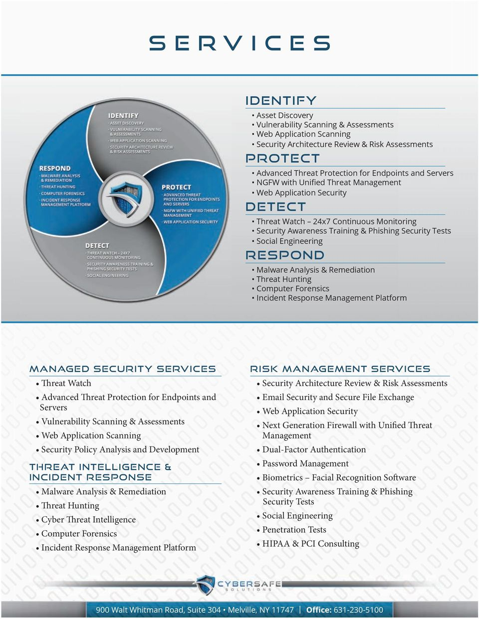 Threat Watch Advanced Threat Protection for Endpoints and Servers Vulnerability Scanning & Web Application Scanning Security Policy Analysis and Threat Intelligence & Incident Malware Analysis &