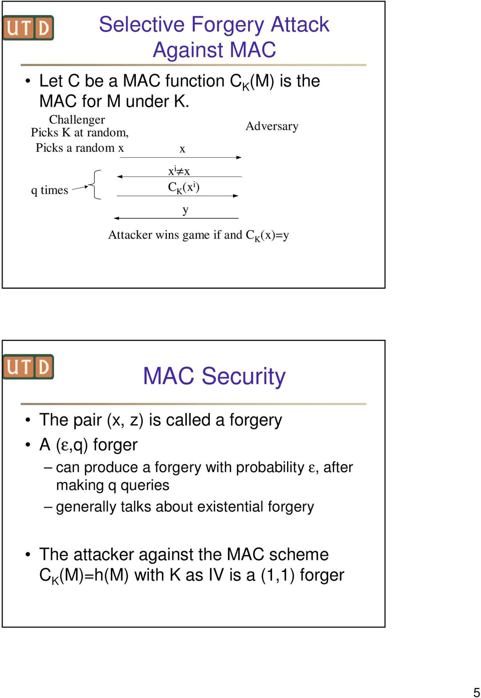 (x)=y MAC Security The pair (x, z) is called a forgery A (ε,q) forger can produce a forgery with probability ε, after
