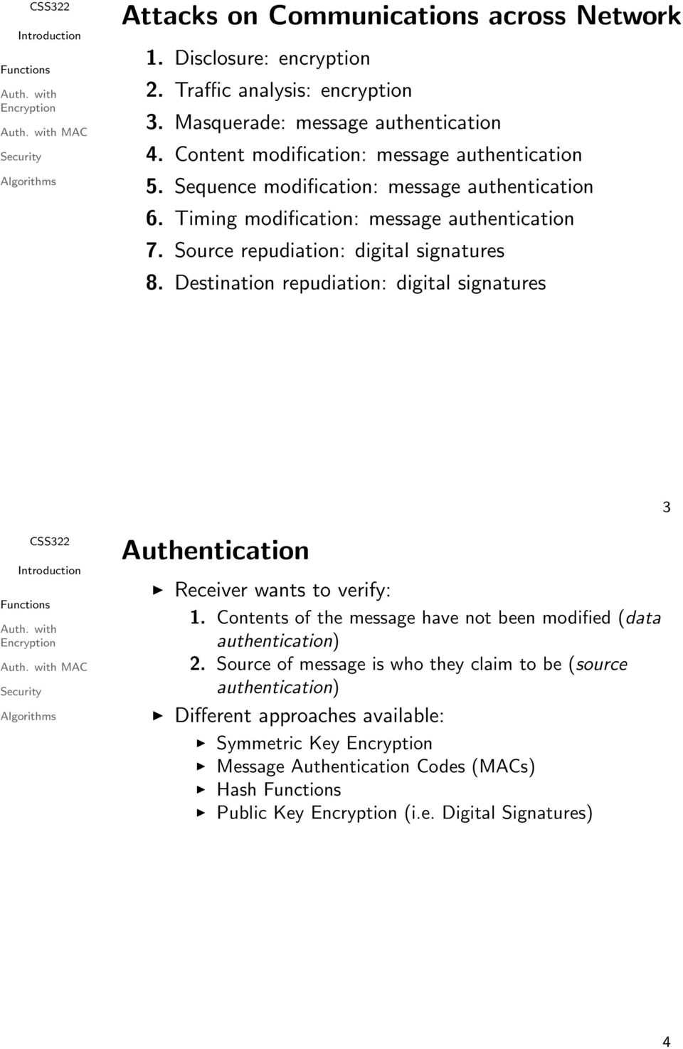 Source repudiation: digital signatures 8. Destination repudiation: digital signatures 3 MAC Authentication Receiver wants to verify: 1.