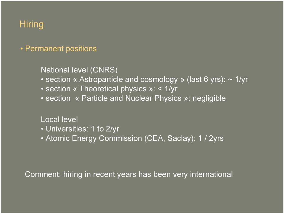 «Particle and Nuclear Physics»: negligible Local level Universities: 1 to 2/yr Atomic
