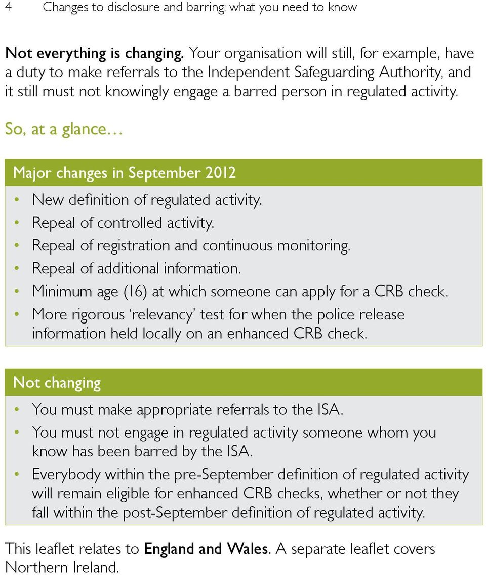 So, at a glance Major changes in September 2012 New definition of regulated activity. Repeal of controlled activity. Repeal of registration and continuous monitoring. Repeal of additional information.