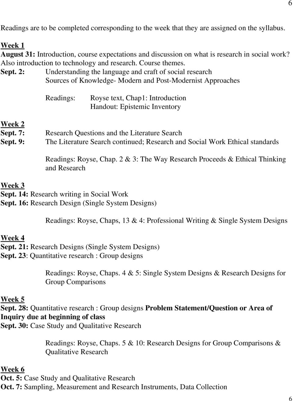 2: Understanding the language and craft of social research Sources of Knowledge- Modern and Post-Modernist Approaches Readings: Royse text, Chap1: Introduction Handout: Epistemic Inventory Week 2