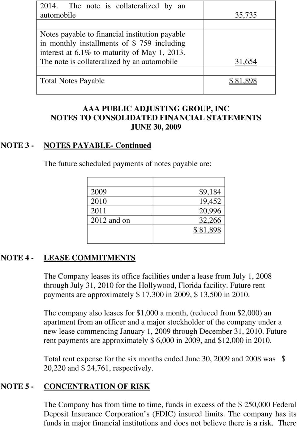 Continued The future scheduled payments of notes payable are: 2009 $9,184 2010 19,452 2011 20,996 2012 and on 32,266 $ 81,898 NOTE 4 - LEASE COMMITMENTS The Company leases its office facilities under