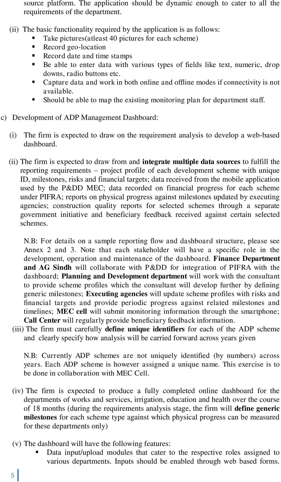 TERMS OF REFERENCE FOR DEVELOPMENT OF ADP MONITORING