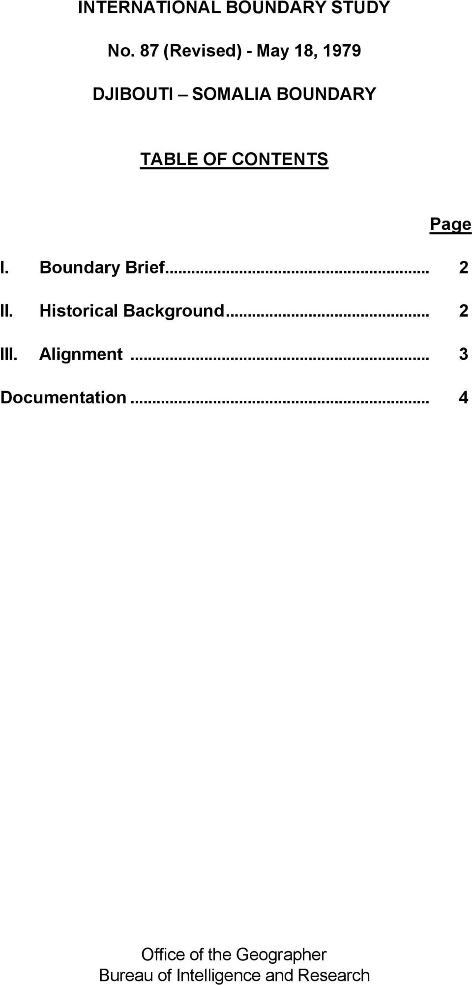 CONTENTS Page I. Boundary Brief... 2 II. Historical Background.
