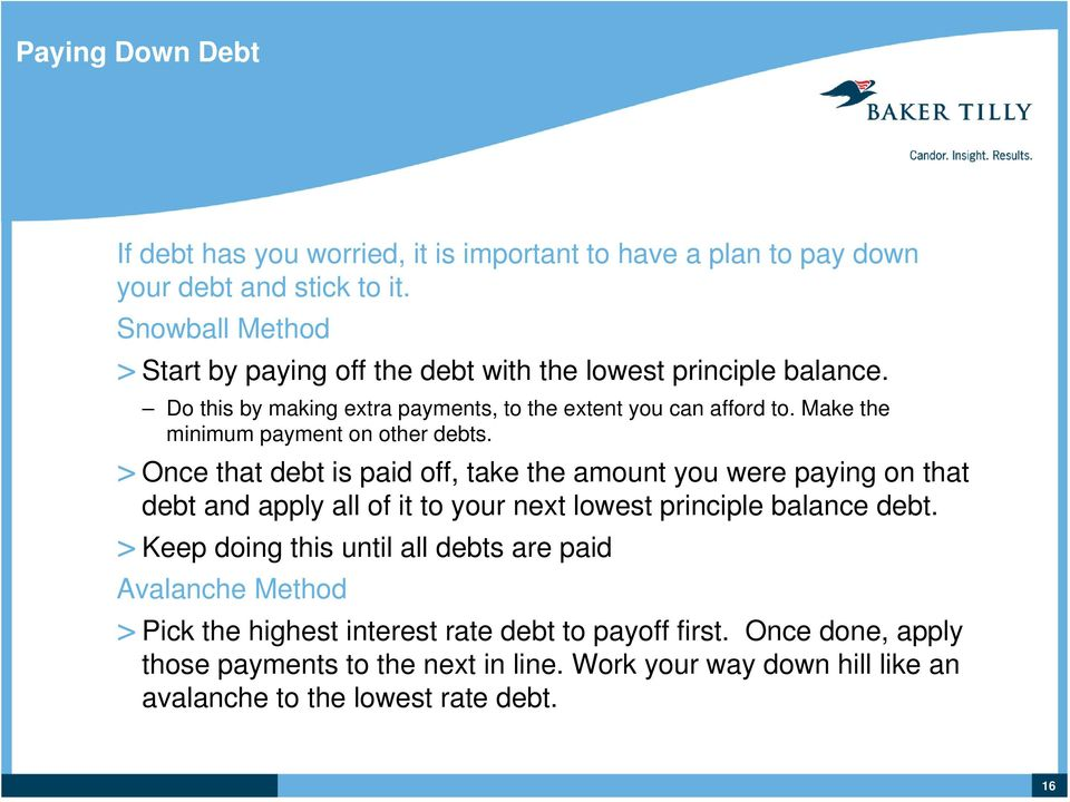 Make the minimum payment on other debts.
