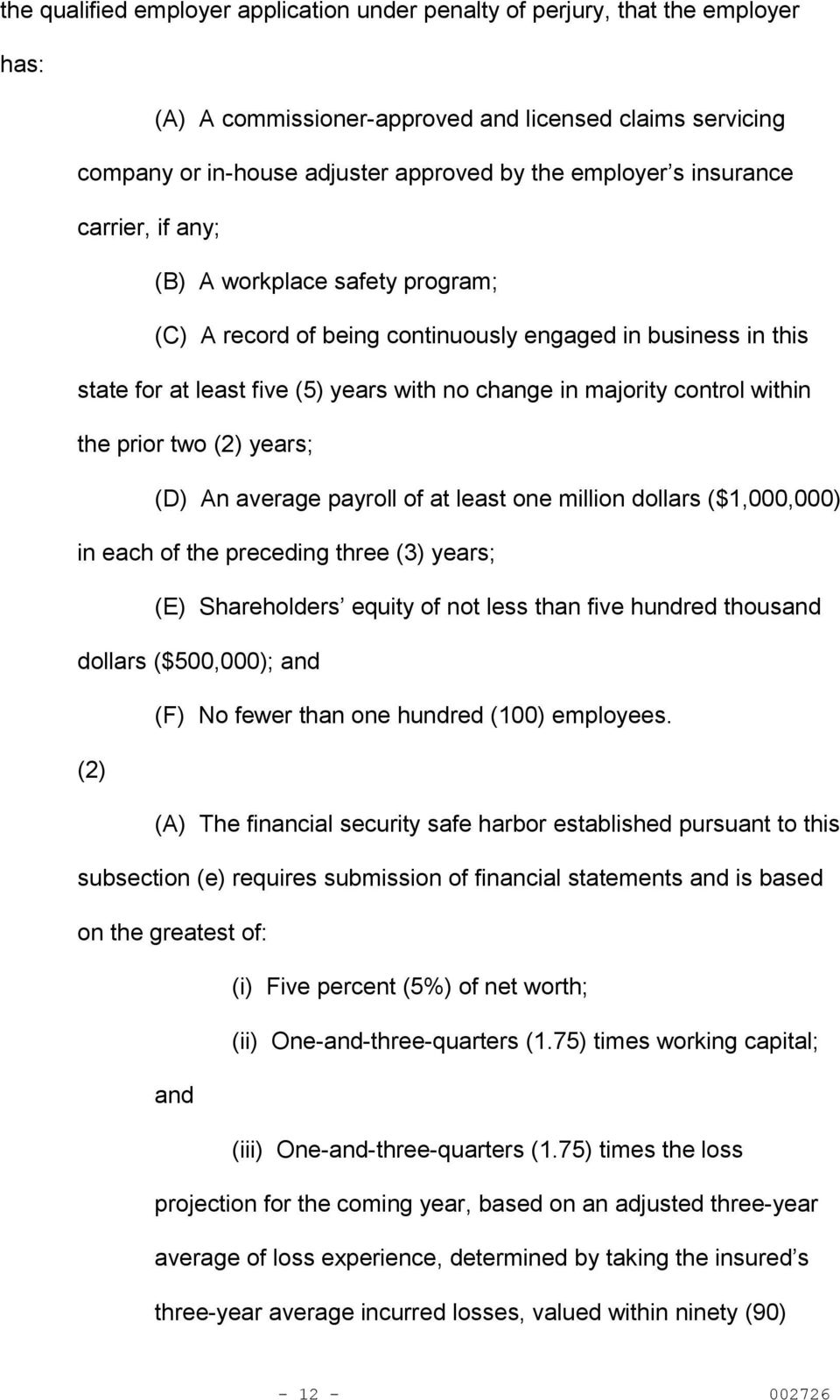 the prior two (2) years; (D) An average payroll of at least one million dollars ($1,000,000) in each of the preceding three (3) years; (E) Shareholders equity of not less than five hundred thousand