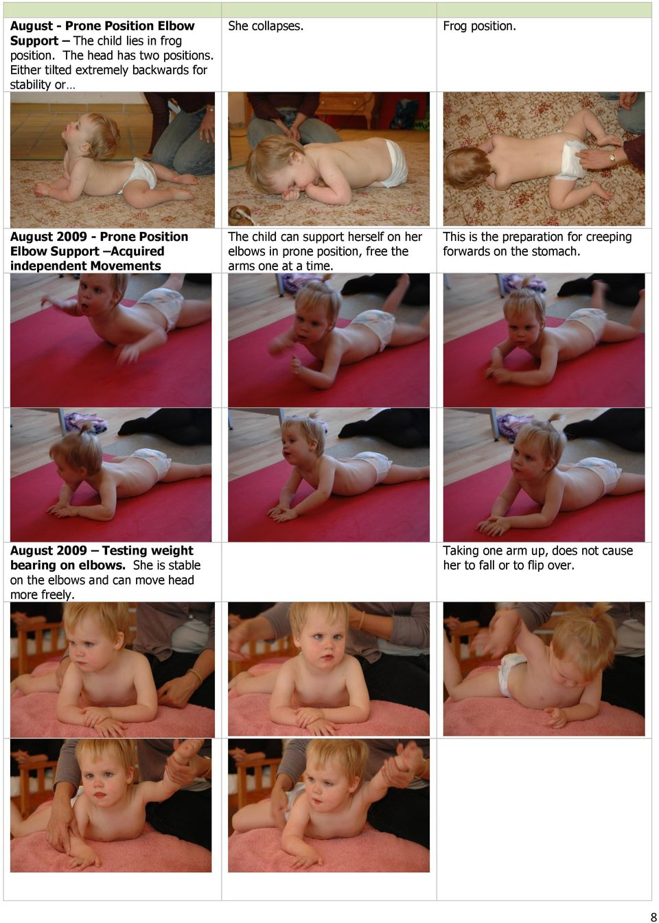 August 2009 - Prone Position Elbow Support Acquired independent Movements The child can support herself on her elbows in prone position, free
