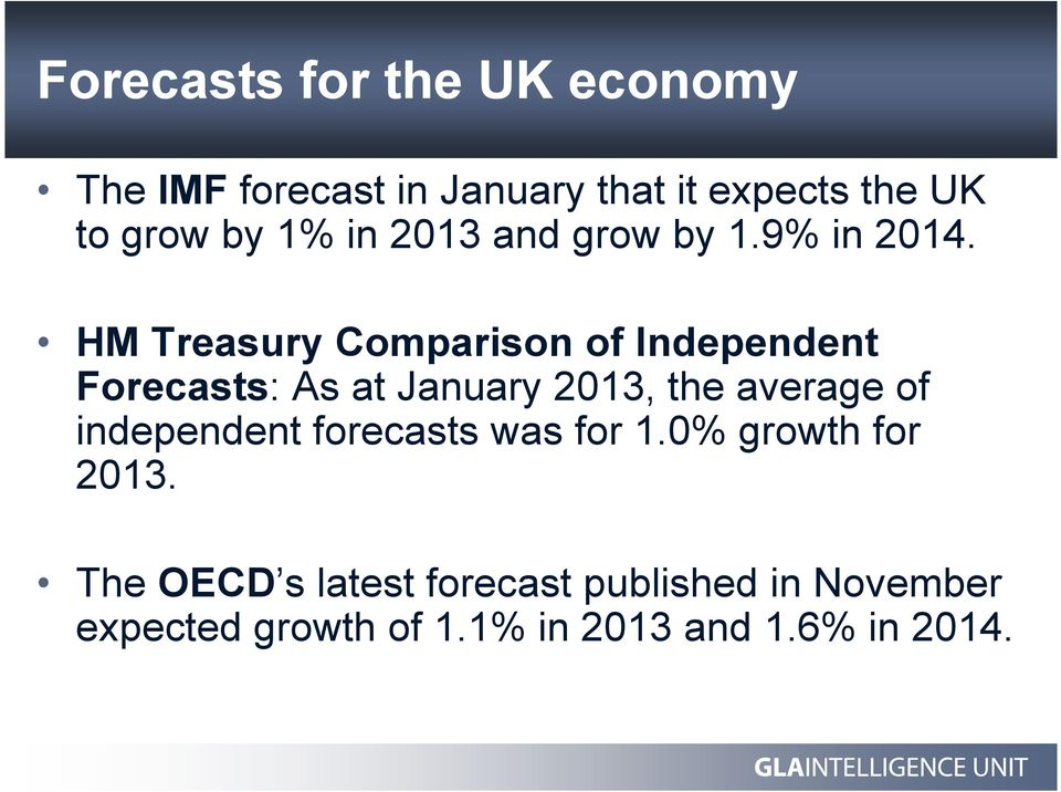 HM Treasury Comparison of Independent Forecasts: As at January 2013, the average of