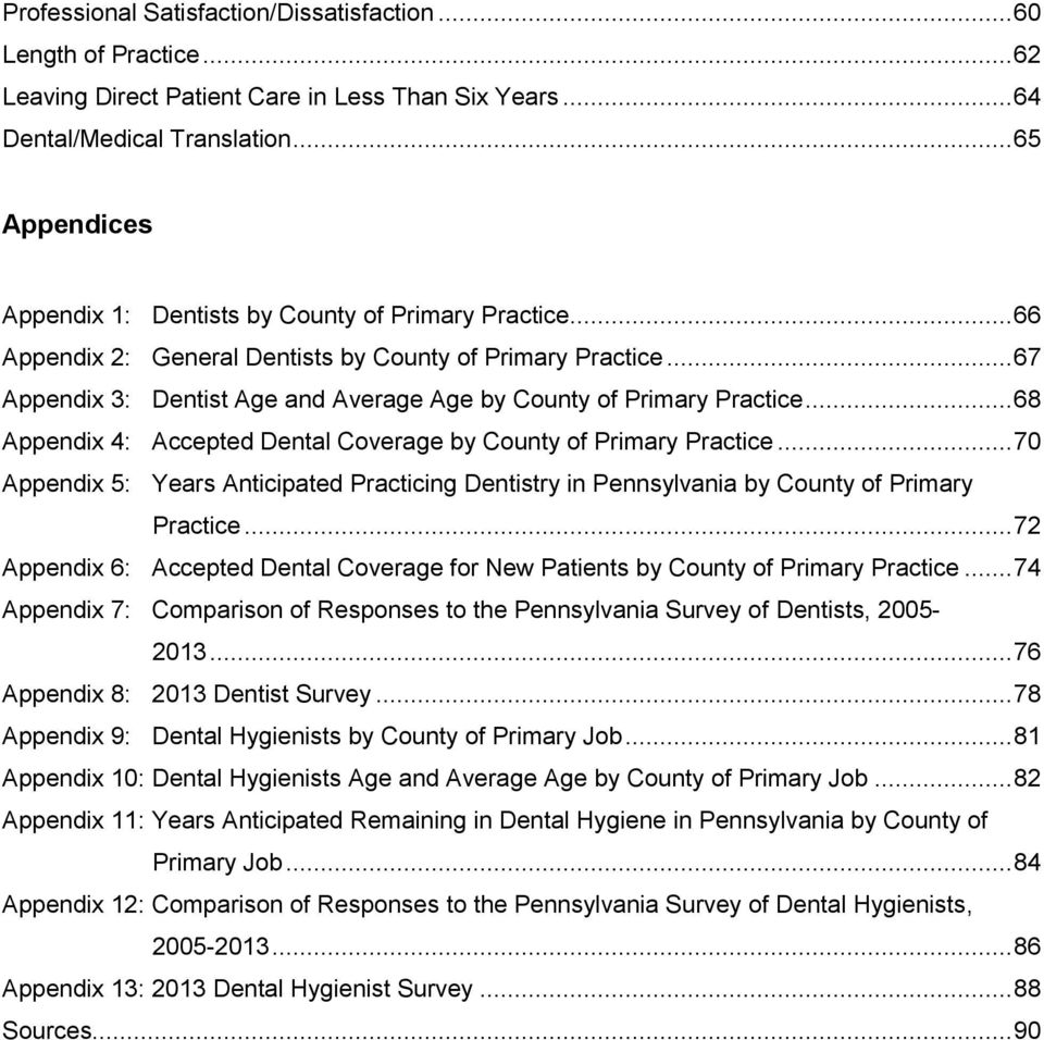 .. 67 Appendix 3: Dentist Age and Average Age by County of Primary Practice... 68 Appendix 4: Accepted Dental Coverage by County of Primary Practice.
