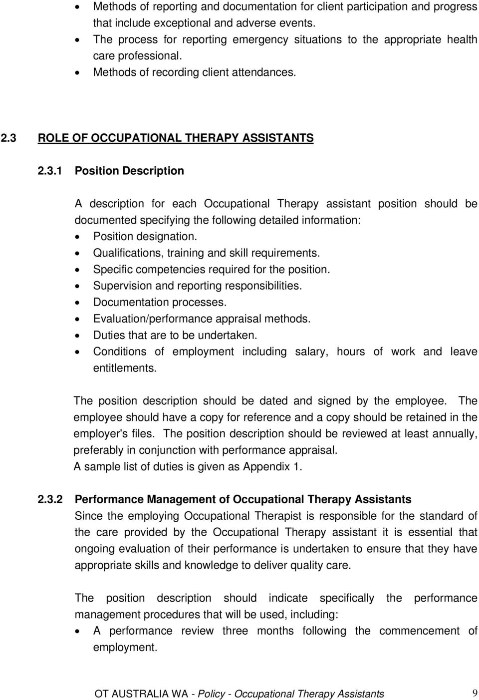ROLE OF OCCUPATIONAL THERAPY ASSISTANTS 2.3.
