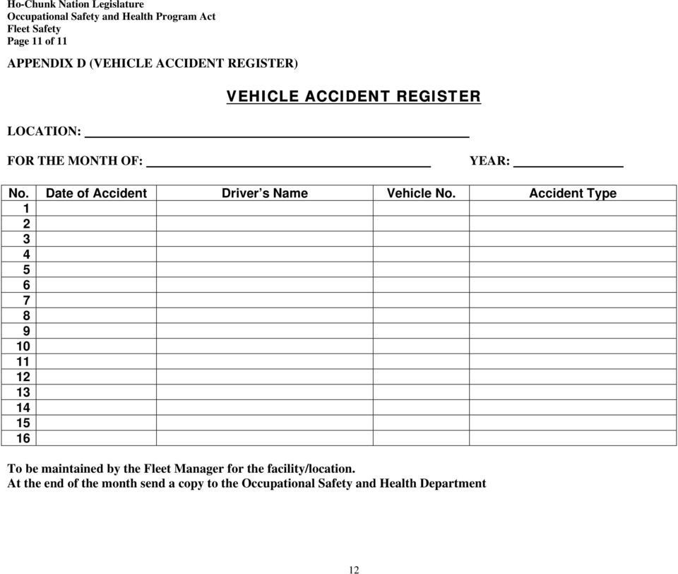 Accident Type 1 2 3 4 5 6 7 8 9 10 11 12 13 14 15 16 To be maintained by the Fleet Manager