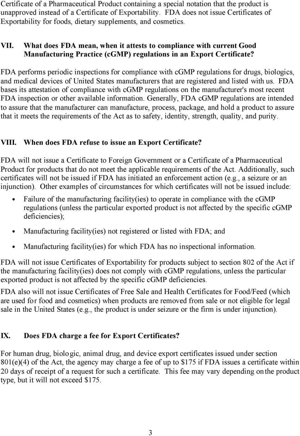What does FDA mean, when it attests to compliance with current Good Manufacturing Practice (cgmp) regulations in an Export Certificate?