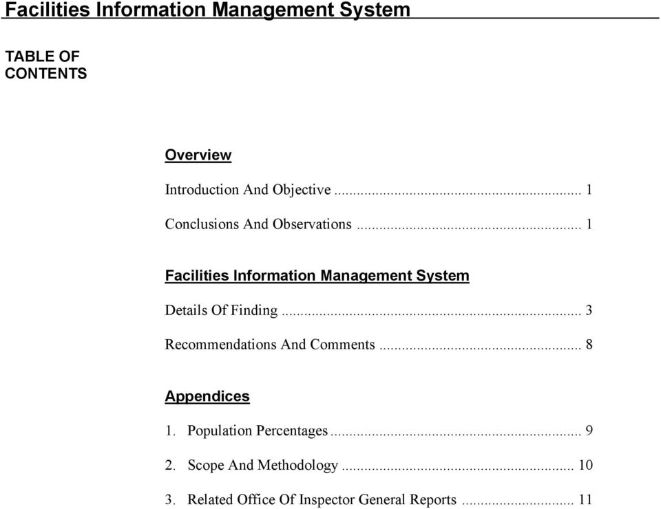 .. 1 Facilities Information Management System Details Of Finding.
