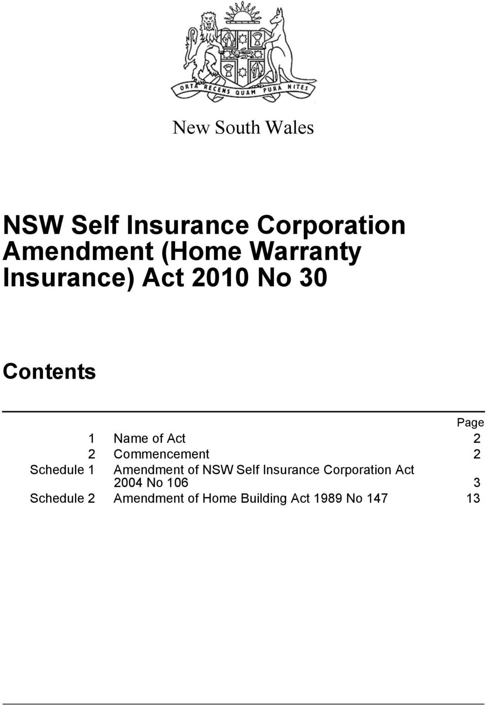 2 Schedule 1 Amendment of NSW Self Insurance Corporation Act