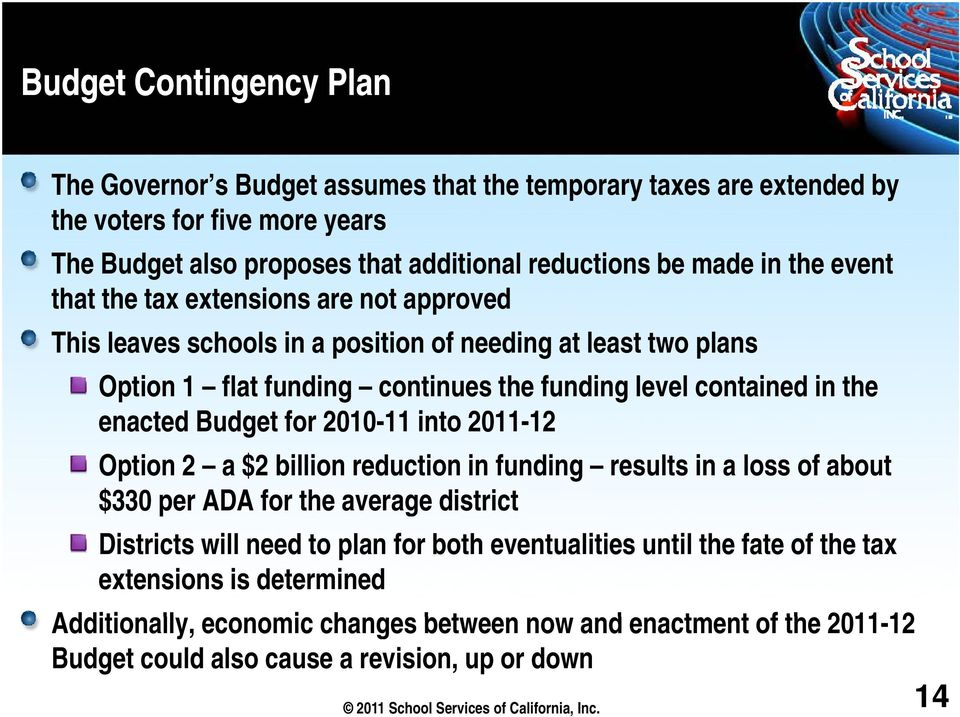 2010-11 11 into 2011-1212 Option 2 a $2 billion reduction in funding results in a loss of about $330 per ADA for the average district Districts will need to plan for both eventualities until the fate