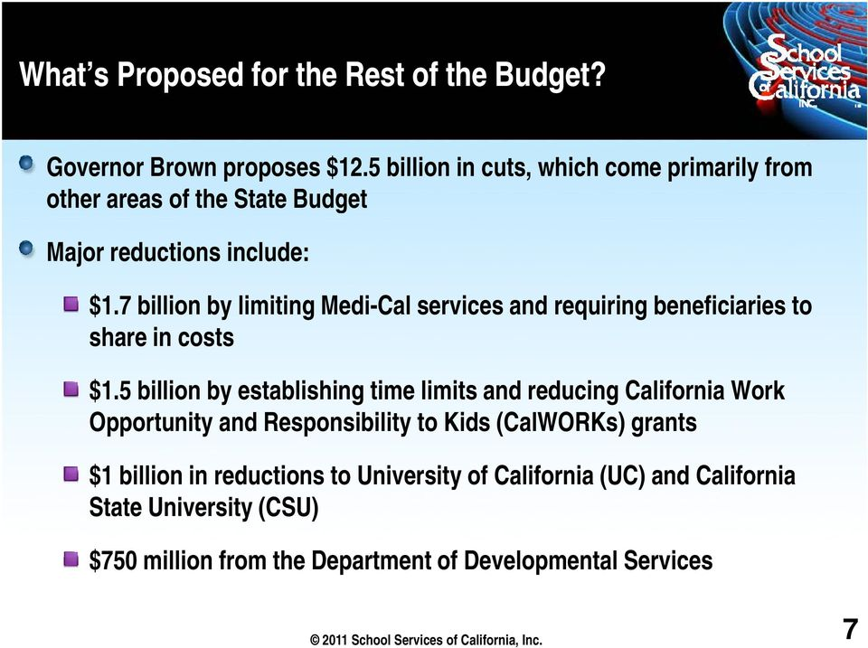 7 billion by limiting Medi-Cal services and requiring beneficiaries to share in costs $1.