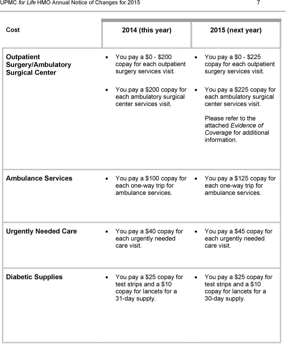 You pay a $225 copay for each ambulatory surgical center services visit. Please refer to the attached Evidence of Coverage for additional information.