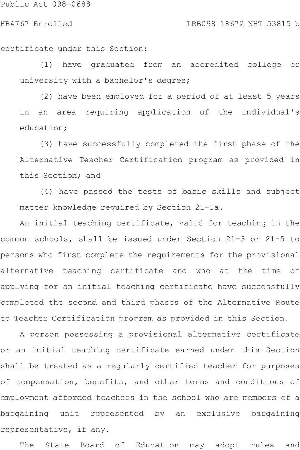 of basic skills and subject matter knowledge required by Section 21-1a.