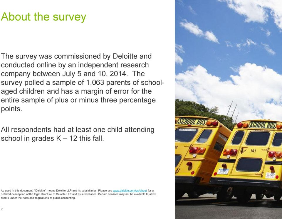 "All respondents had at least one child attending school in grades K 12 this fall. As used in this document, ""Deloitte"" means Deloitte LLP and its subsidiaries. Please see www.deloitte."