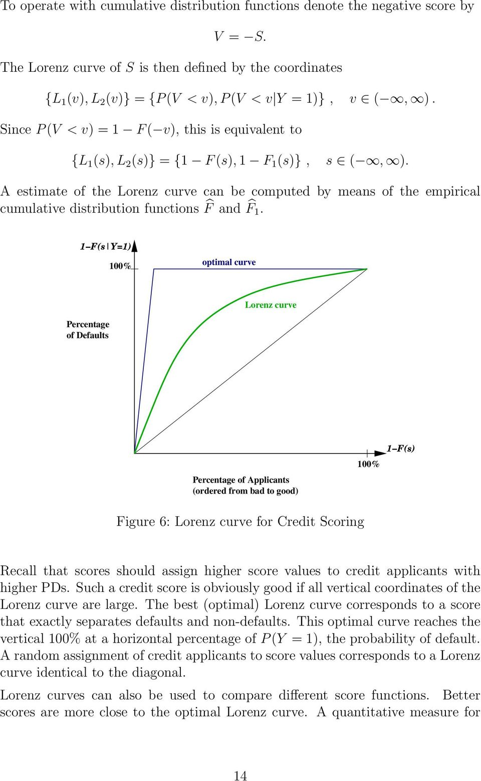 A etimate of the Lorenz curve can be computed by mean of the empirical cumulative ditribution function F and F 1.