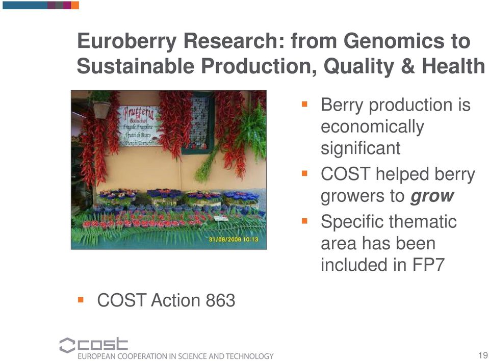 production is economically significant COST helped