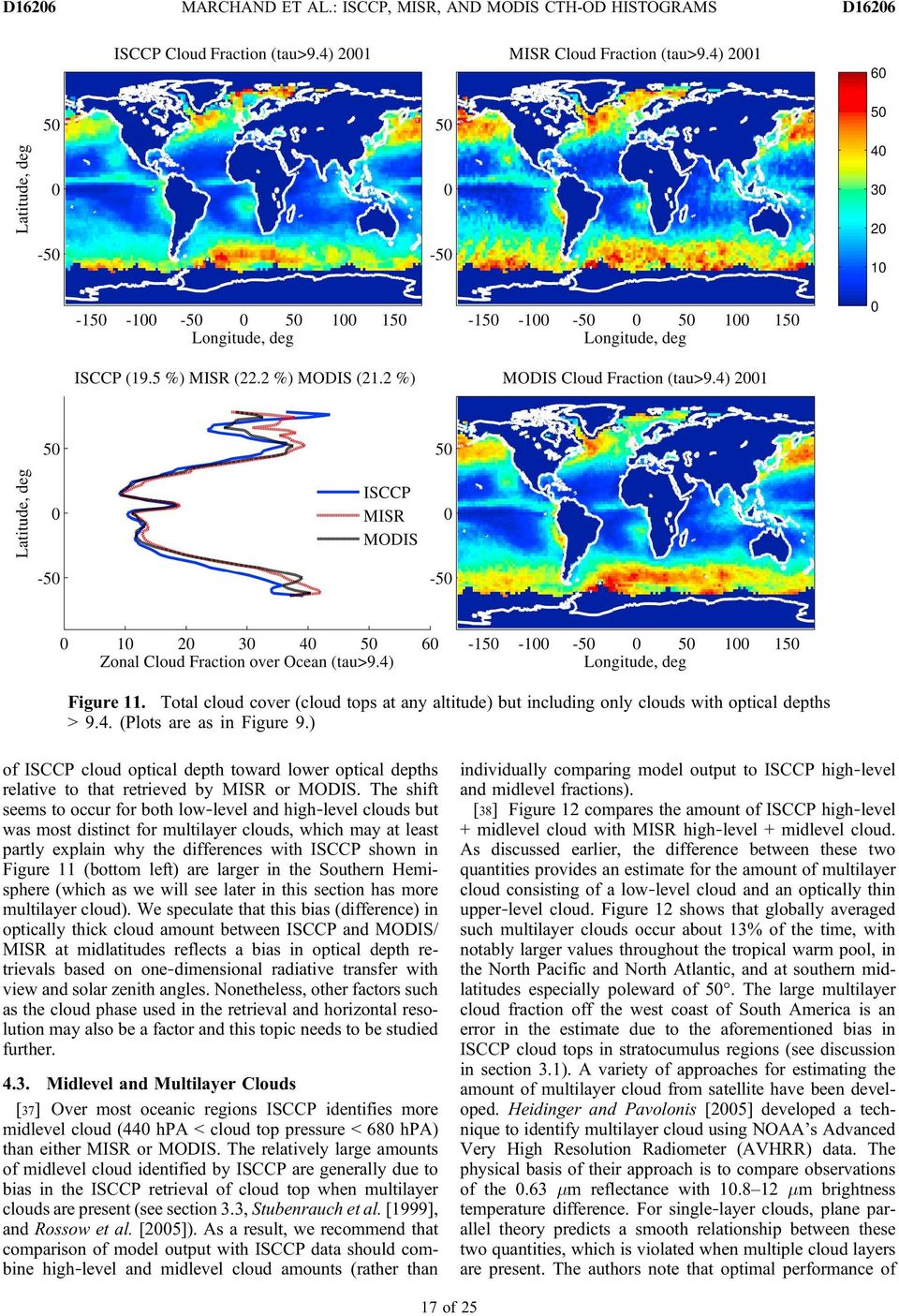 The shift seems to occur for both low level and high level clouds but was most distinct for multilayer clouds, which may at least partly explain why the differences with ISCCP shown in Figure 11