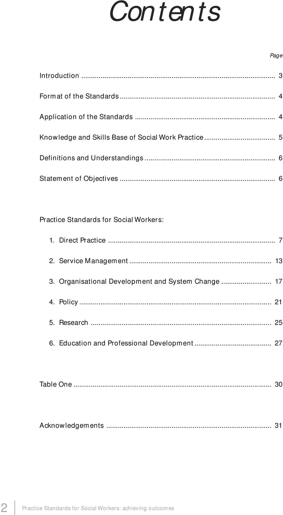 .. 6 Practice Standards for Social Workers: 1. Direct Practice... 7 2. Service Management... 13 3.