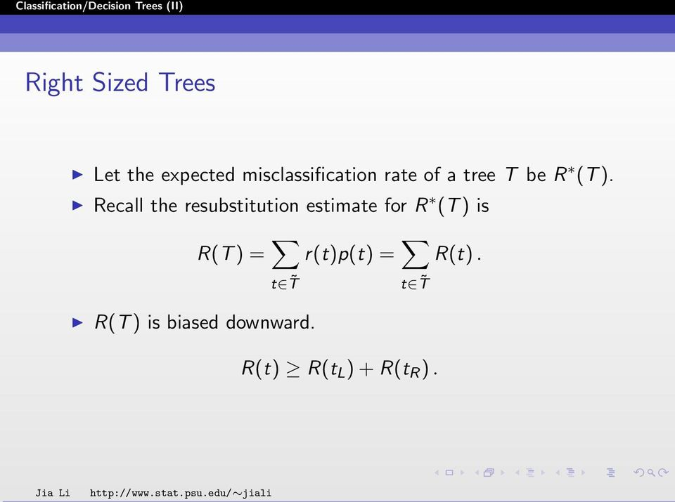 Recall the resubstitution estimate for R (T ) is R(T
