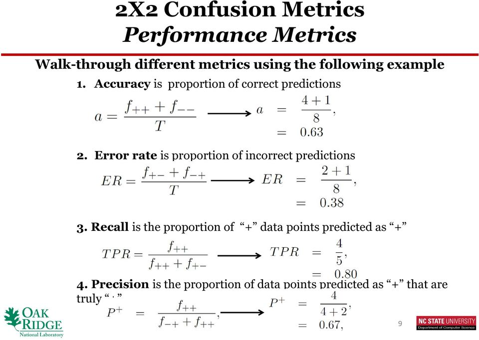 Error rate is proportion of incorrect predictions 3.