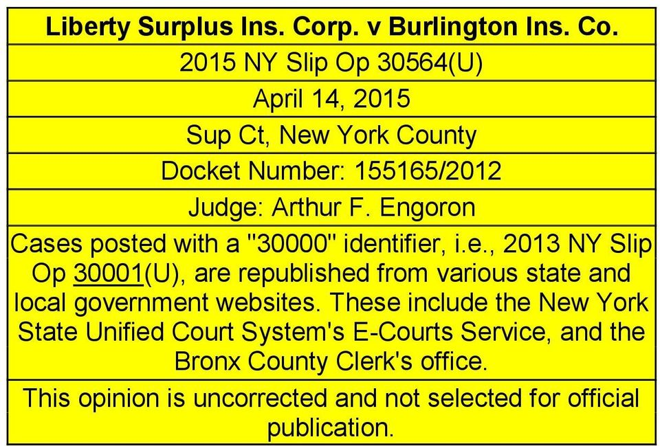 2015 NY Slip Op 30564(U) April 14, 2015 Sup Ct, New York County Docket Number: 155165/2012 Judge: Arthur F.